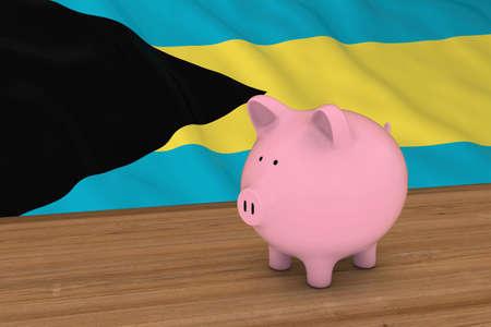 bahamian: Bahamas Finance Concept - Piggybank in front of Bahamian Flag 3D Illustration