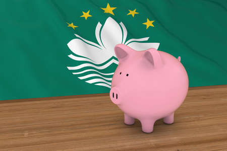 macau: Macau Finance Concept - Piggybank in front of Macanese Flag 3D Illustration Stock Photo