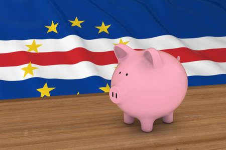 piggybank: Cape Verde Finance Concept - Piggybank in front of Cabo Verde Flag 3D Illustration Stock Photo