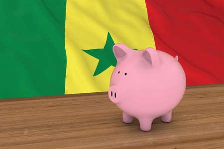 senegalese: Senegal Finance Concept - Piggybank in front of Senegalese Flag 3D Illustration