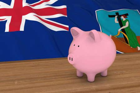 Piggybank in front of Montserrat Flag 3D Illustration