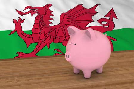 Concetto di finanze del Galles - Piggybank davanti all'illustrazione della bandiera 3D di Lingua gallese