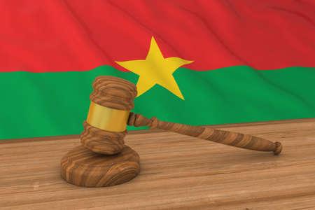 Burkinabe Law Concept - Flag of Burkina Faso Behind Judges Gavel 3D Illustration