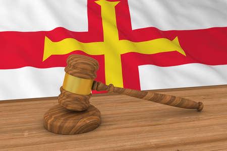 guernsey: Channel Islands Law Concept - Flag of Guernsey Behind Judges Gavel 3D Illustration Stock Photo