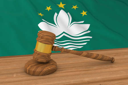 macau: Macanese Law Concept - Flag of Macau Behind Judges Gavel 3D Illustration