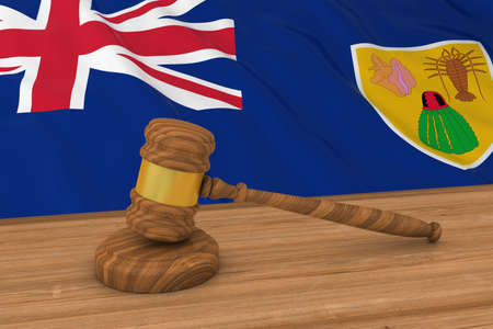 Turks and Caicos Islands Flag Behind Judges Gavel 3D Illustration Stock Photo