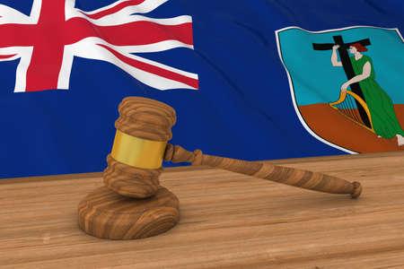 Flag of Montserrat Behind Judges Gavel 3D Illustration