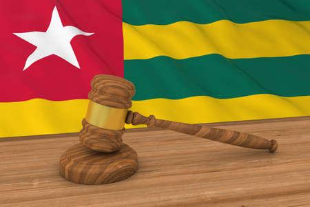 Togolese Law Concept - Flag of Togo Behind Judges Gavel 3D Illustration