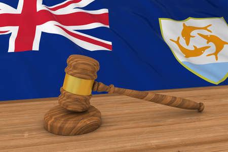 Anguillan Law Concept - Flag of Anguilla Behind Judges Gavel 3D Illustration Stock Photo