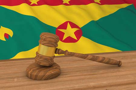 Grenadian Law Concept - Flag of Grenada Behind Judges Gavel 3D Illustration