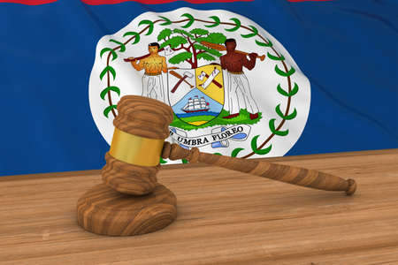 Belizean Law Concept - Flag of Belize Behind Judges Gavel 3D Illustration
