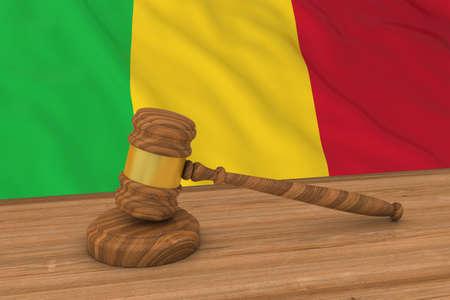 Malian Law Concept - Flag of Mali Behind Judges Gavel 3D Illustration Stock Photo