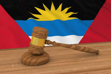 Antiguan and Barbudan Law Concept - Flag of Antigua and Barbuda Behind Judges Gavel 3D Illustration