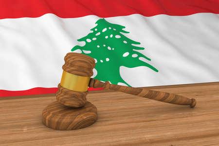 Lebanese Law Concept - Flag of Lebanon Behind Judges Gavel 3D Illustration