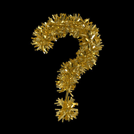Question Mark made from Gold Christmas Tinsel Isolated on Black - 3D Illustration