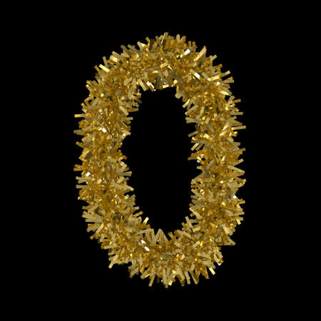 naught: Number Zero made from Gold Christmas Tinsel Isolated on Black - 3D Illustration Stock Photo