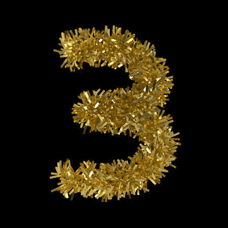 Number Three made from Gold Christmas Tinsel Isolated on Black - 3D Illustration