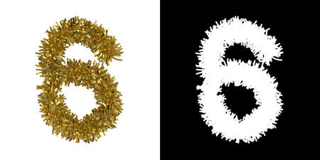 number six: Number Six Christmas Tinsel with Alpha Mask Channel for Clipping - 3D Illustration