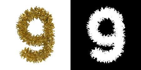 number nine: Number Nine Christmas Tinsel with Alpha Mask Channel for Clipping - 3D Illustration