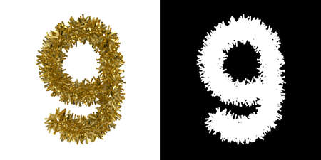 Number Nine Christmas Tinsel with Alpha Mask Channel for Clipping - 3D Illustration