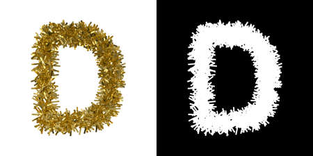 Letter D Christmas Tinsel with Alpha Mask Channel for Clipping - 3D Illustration Stock Photo