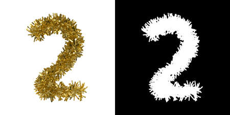 Number Two Christmas Tinsel with Alpha Mask Channel for Clipping - 3D Illustration Stock Photo