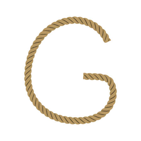 Letter G made from Rope Isolated on White 3D Illustration Stock Photo