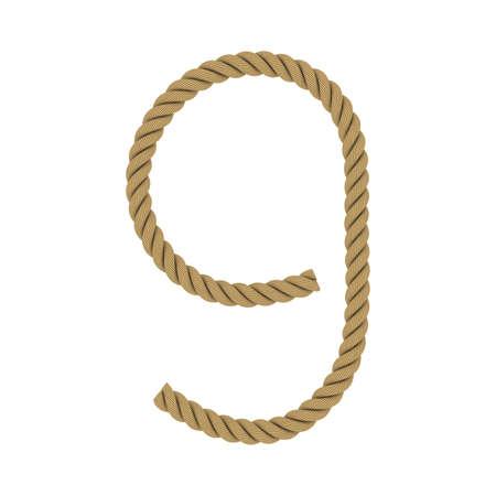 numero nueve: Número nueve de la cuerda aislado en blanco ilustración 3D