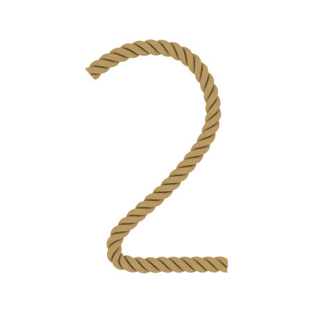 Number Two made from Rope Isolated on White 3D Illustration