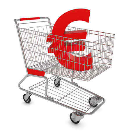 Shopping Cart with Euro Symbol Isolated on White - 3D Illustration