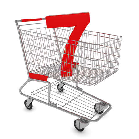 number seven: Shopping Cart with Number Seven Isolated on White - 3D Illustration