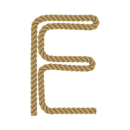 e white: Letter E made from Rope Isolated on White 3D Illustration Stock Photo