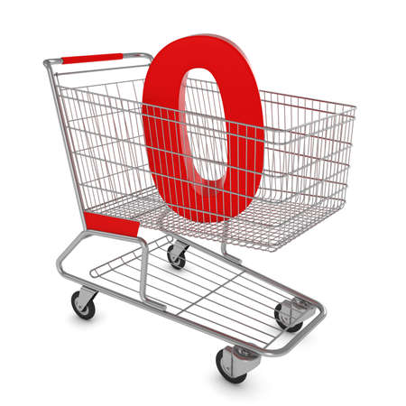 naught: Shopping Cart with Number Zero Isolated on White - 3D Illustration Stock Photo