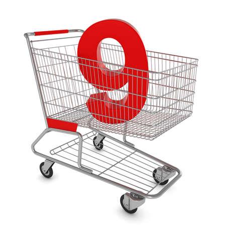 numero nueve: Cesta de la compra número nueve aislados en blanco - Ilustración 3D Foto de archivo