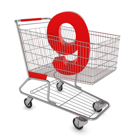 number nine: Shopping Cart with Number Nine Isolated on White - 3D Illustration