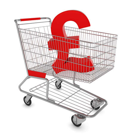 Shopping Cart with Pound Symbol Isolated on White - 3D Illustration Stock Photo