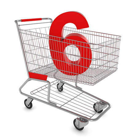 number six: Shopping Cart with Number Six Isolated on White - 3D Illustration Stock Photo