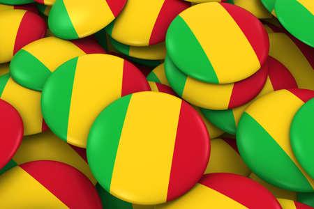 discs: Mali Badges Background - Pile of Malian Flag Buttons 3D Illustration