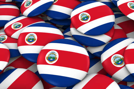 Costa Rica Badges Background - Pile of Costa Rican Flag Buttons 3D Illustration