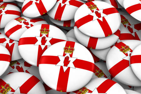 ulster: Northern Ireland Badges Background - Pile of Northern Irish Ulster Flag Buttons 3D Illustration