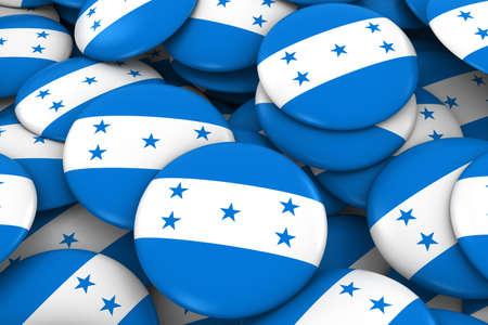discs: Honduras Badges Background - Pile of Honduran Flag Buttons 3D Illustration