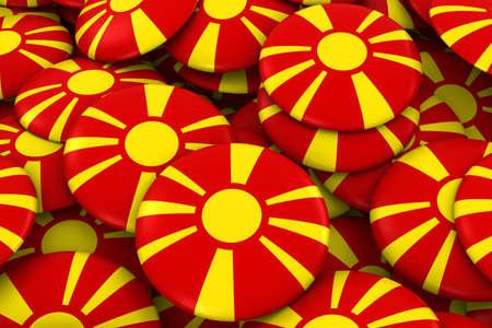 macedonian flag: Macedonia Badges Background - Pile of Macedonian Flag Buttons 3D Illustration
