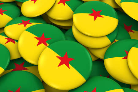 french guiana: French Guiana Badges Background - Pile of French Guianese Flag Buttons 3D Illustration Stock Photo