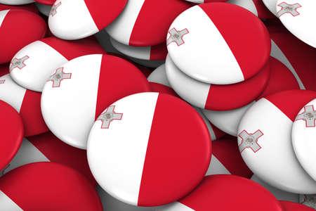 malta: Malta Badges Background - Pile of Maltese Flag Buttons 3D Illustration
