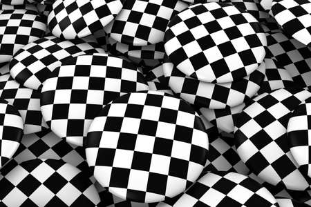 discs: Racing Checkers Badges Background - Pile of Checkered Flag Buttons 3D Illustration