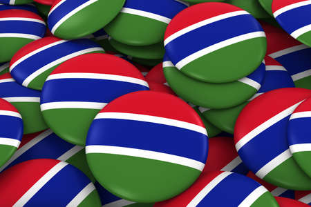 gambia: Gambia Badges Background - Pile of Gambian Flag Buttons 3D Illustration