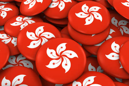 discs: Hong Kong Badges Background - Pile of Hong Kongese Flag Buttons 3D Illustration Stock Photo