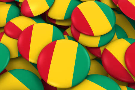 discs: Guinea Badges Background - Pile of Guinean Flag Buttons 3D Illustration Stock Photo