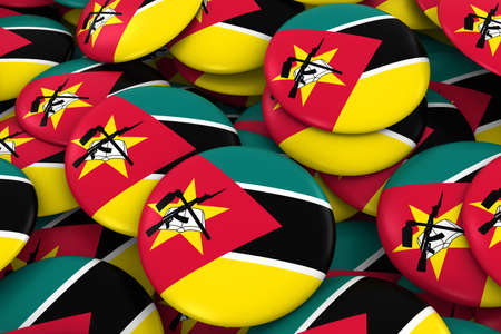 Mozambique Badges Background - Pile of Mozambican Flag Buttons 3D Illustration Stock Photo