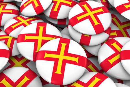 guernsey: Guernsey Badges Background - Pile of Channel Island Flag Buttons 3D Illustration